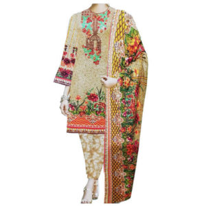 Brown Embroidery Unstitched Khaddar Ladies 3 Piece Suit