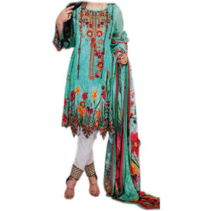 Ladies Embroidery Unstitched Boski Linen C Green Suit Online Pakistan