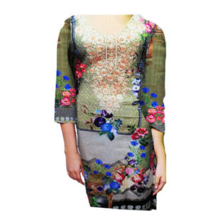 Ladies Unstitched Linen Kurti Green Online in Pakistan