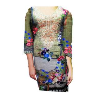Ladies Unstitched Linen Kurti Green Online in Pakistan