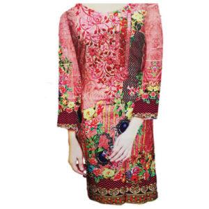 Ladies Unstitched Linen Kurti Pink Online in Pakistan