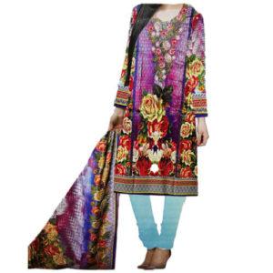 Purple Embroidery Unstitched Khaddar 3 Piece Ladies Suit