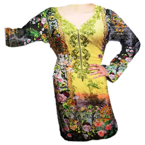 Ladies Linen Kurti Yellow and Green Online Pakistan